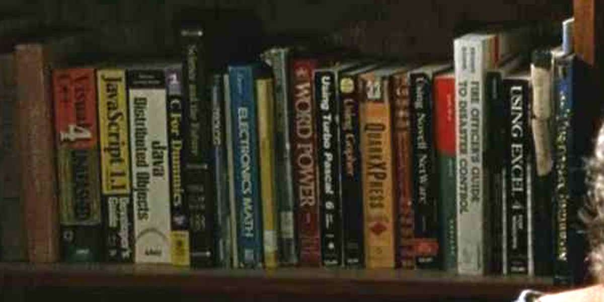 Close-up insert of some of the books.
